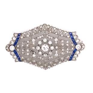 Platinum Sapphire Diamond Brooch
