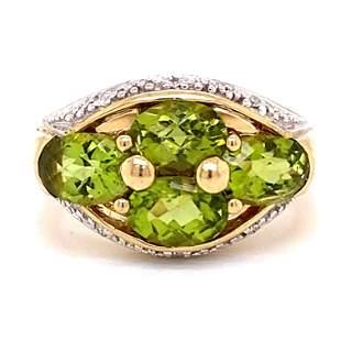 10k Peridot Diamond Ring