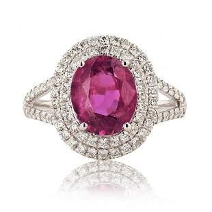 UNHEATED Pink-Purple Sapphire and Diamond Platinum Ring