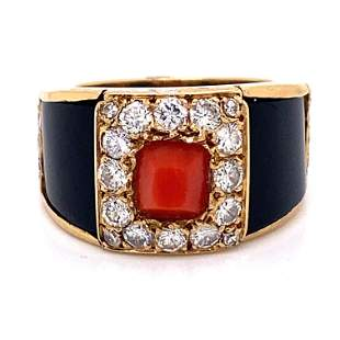 18k Onyx & Coral, Diamond Ring