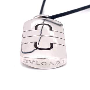 18k BVLGARI Pendant With Leather Chain
