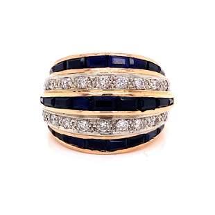 Retro 14k Sapphire Diamond Cocktail Ring