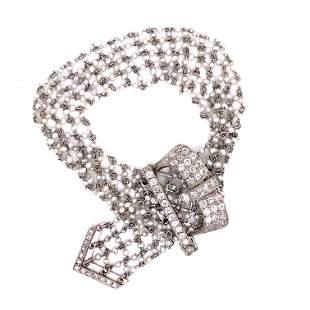 Platinum Diamond Micro Pearl Buckle Bracelet