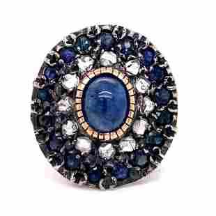 Silver & Gold Sapphire Diamond Round Ring