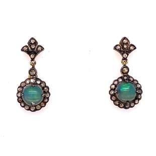 Silver & Gold Opal Diamond Earrings