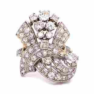 Art Deco Platinum Diamond Retro Ring