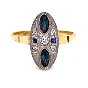 Art Deco 18K Diamond Sapphire Ring