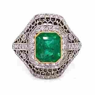 Platinum Diamond Emerald Ring