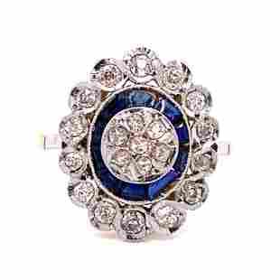 Art Deco 18K PT Sapphire Diamond Ring