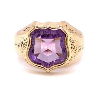14K Amethyst Shield Victorian Ring