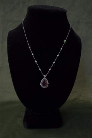 Platinum Diamond Ruby Pendant