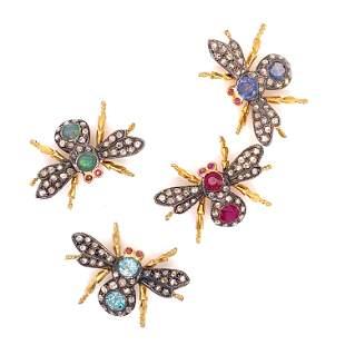Silver & Gold Diamond & Multi Gem Bug Brooch