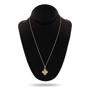 14K Yellow and White Gold Diamond Pendant/Necklace