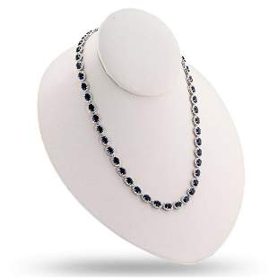 18K Blue Sapphire and Diamond Necklace