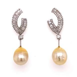 18k Diamond Pearl Drop EarringÊ