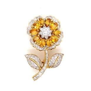 18k Diamond Sapphire Flower Brooch