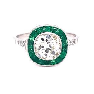 Platinum Diamond Emerald Target Ring