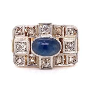 18k Early Art Deco Sapphire Diamond Ring
