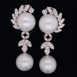 14K South Sea Pearl Diamond Earrings