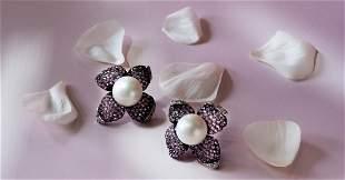 18K South Sea Pearl Cunzanite Earrings