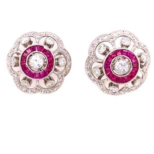 Platinum Diamond Ruby Earrings