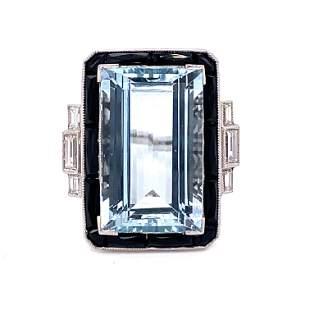 Platinum Aqua Onyx Diamond Ring