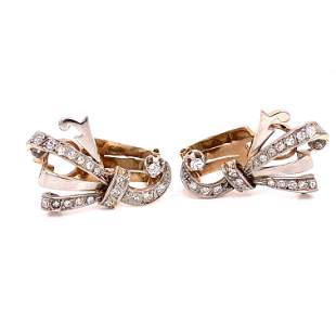 14K Retro Diamond Earrings