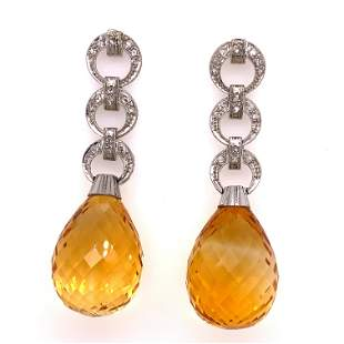 18K Briolette Citrine Diamond Earrings