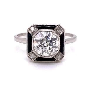 Art Deco Platinum Onyx Diamond Engagement Ring