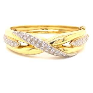 18k Diamond Twist Bangle Bracelet