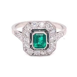 Platinum Colombian Emerald Diamond Ring
