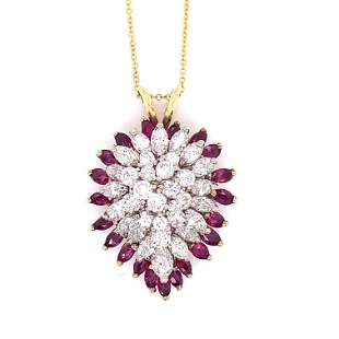 18k Ruby Diamond Pendant