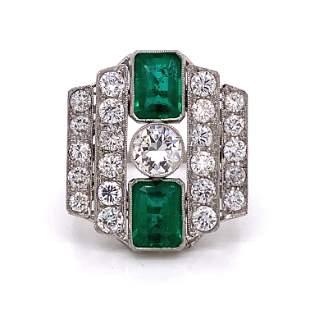 Art Deco Platinum Colombian Emerald Diamond Ring