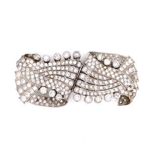 50's Platinum Diamond Double Clip Brooch