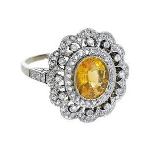 18k Yellow Sapphire & Diamond Rosetta Ring