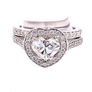 Platinum Heart Shaped Diamond Engagement Ring Set
