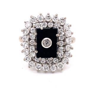 18k Onyx Diamond Ring