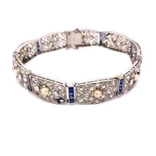 Art Deco 18k Sapphire Diamond Pearl Bracelet
