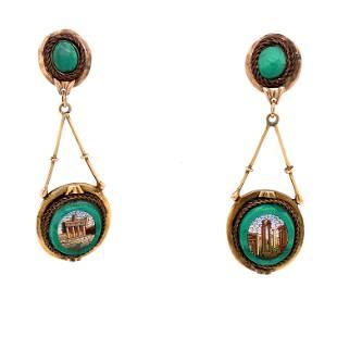 18k Micromosaicos Malachite Earrings