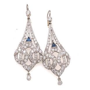 Platinum Diamond & Sapphire Long Earrings
