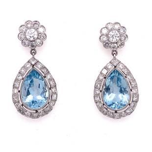 Platinum Diamond Aqua Marine Drop Earrings