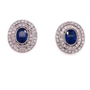 Platinum Diamond Sapphire Stud Earrings