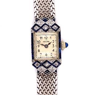 18k VULCAIN Art Deco Diamond Sapphire Watch