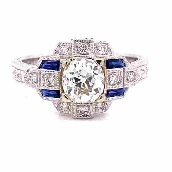 Art Deco 14K Diamond Sapphire Engagement Ring
