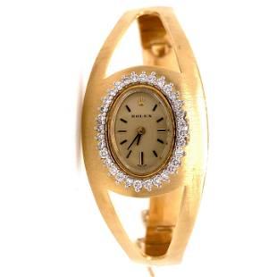 ROLEX 14k Diamond Bangle Bracelet Watch