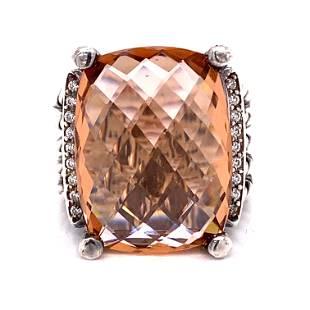 DAVID YURMAN Morganite Diamond Cable Ring
