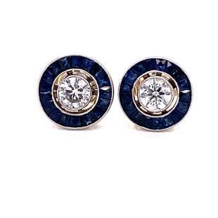 Platinum Diamond Sapphire Target Earrings