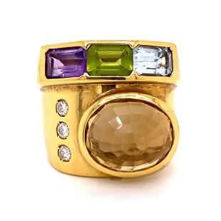 18k Multi Gem Avant Garde Ring