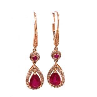 14k Diamond Ruby Dangling Earrings