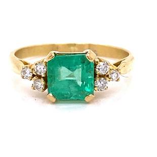 18k Colombian Emerald Diamond Engagement Ring